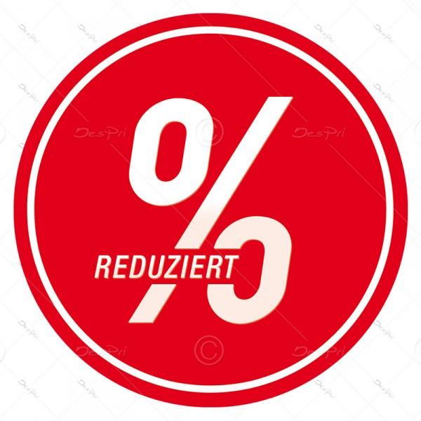 25x Reduziert, Schaufenster ablösbare Aufkleber, Rund, Rot, UV-Lack, A0007