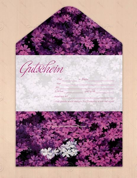 Gutscheinkarte klassisch, 50 Stück, lila Phloxen, flower collection, 19x10 cm, G0012