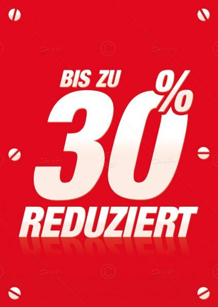 Werbeflyer - Bis zu 30% Reduziert, Verkaufsförderung, Rot, F0009, 25er Set