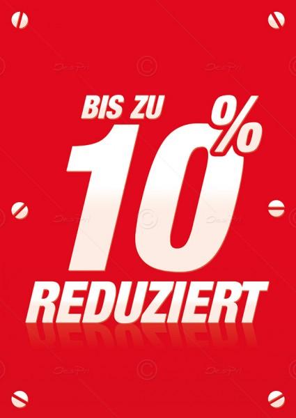Werbeflyer - Bis zu 10% Reduziert, Verkaufsförderung, Rot, F0011, 25er Set