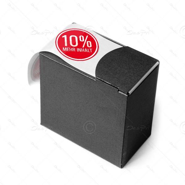 """Etiketten auf Rolle """"10% mehr Inhalt"""", rund, 20 mm, 1.000 Stück, rot, Spendebox"""