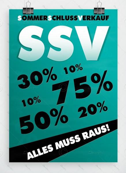 Sommerschlussverkauf - Alles muss raus - Plakat, dunkles Türkis, A1, P0002E