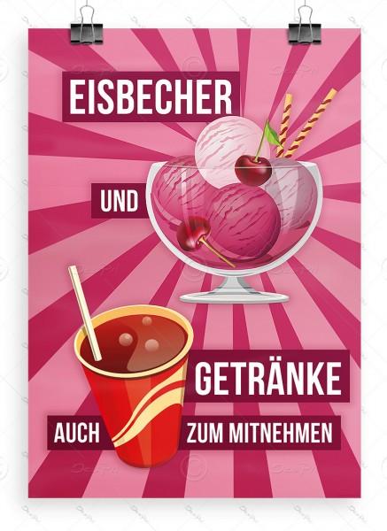 Eisbecher und Getränke auch zum mitnehmen - Plakat, Kirscheis, A1, P0029B