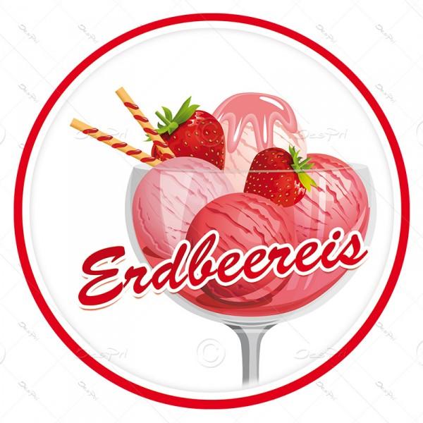 10x Erdbeereis, Schaufenster ablösbare Aufkleber, Rund, UV-Lack, A0004B