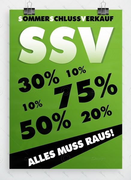 Sommerschlussverkauf - Alles muss raus - Plakat, DIN A1, Grün, P0002B
