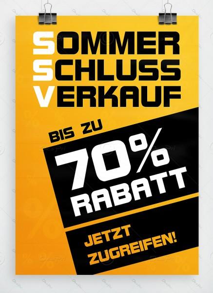 SSV Plakat - Sommerschlussverkauf - bis zu 70% Rabatt, gelb, DIN A1, P0043A