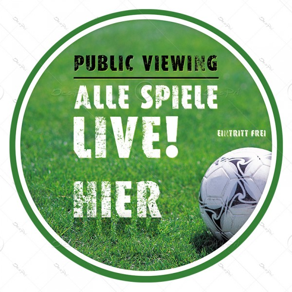 10x Fussball - Public Viewing, ablösbare Aufkleber, Rund, UV-Lack, A0005