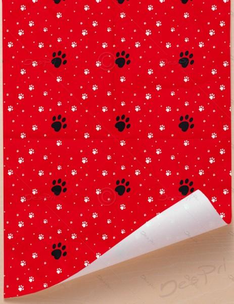 Geschenkpapier - Pfoten - Rot, 68 cm x 98 cm, GP0002A ab 100 Stück