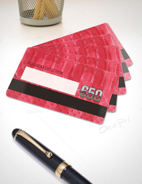 50 Euro Gutscheinkarte, Plastikkarte mit Magnetstreifen und Textfeld, Leder-Look, PK0003C, 50 Stück