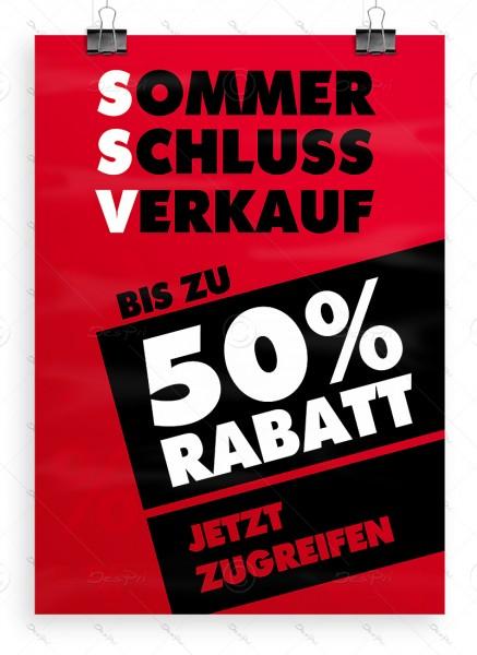 "Werbeplakat ""SSV - Sommerschlussverkauf"" Poster - P0001A, rot, DIN A1"