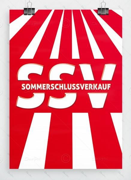SSV - Sommerschlussverkauf - Plakat, rot, DIN A1, P0045