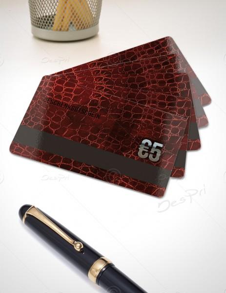 5 Euro Gutscheinkarte, Plastikkarte mit Magnetstreifen, Leder-Look, PK0003, 50 Stück