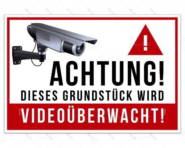 Schild - Videoüberwachung, Hinweisschild S0002 - 30x20 cm, Aluminiumverbundplatte, 3mm, UV-Lack
