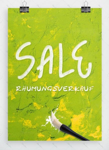 Werbeplakat - SALE - Räumungsverkauf, Grün, Ölfarben Imitation, A1, P0016