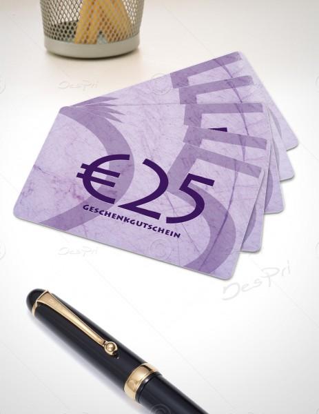 25 Euro Gutscheinkarte, Plastikkarte, Mino Paper look, PK0002B, violett, 50 Stück