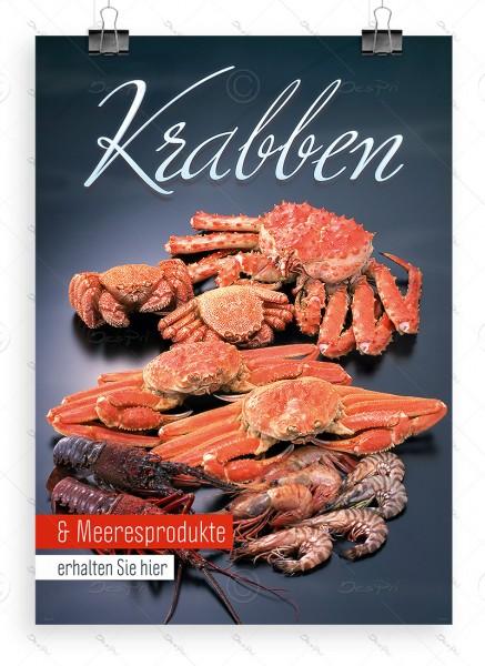 Krabben und Meeresprodukte - Werbeplakat by Despri, DIN A1, P0082