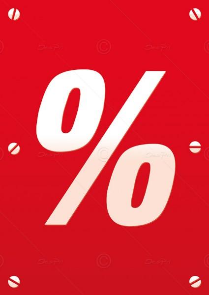 Werbeflyer - Prozent, Aktionsflyer, Werbeschild, Rot, DIN A5, F0005