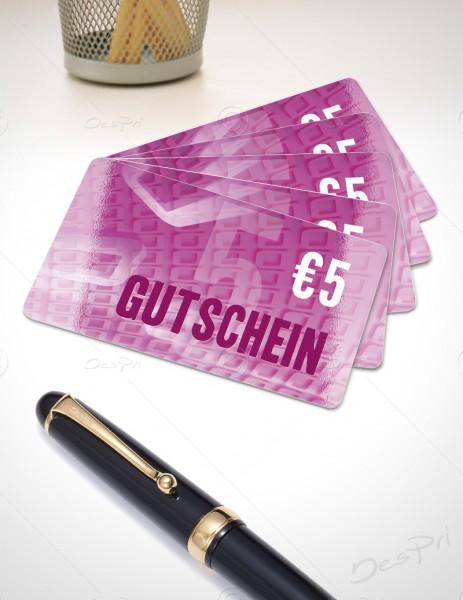 5 Euro Gutschein - Plastikkarten - Gutscheinkarten, PK0001, 50 Stück