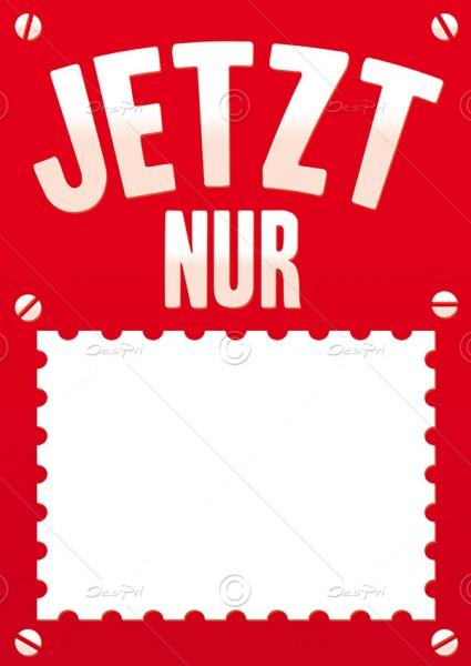 """Preisschild, Werbeschild """"Jetzt nur"""" mit Textfeld, DIN A5, F0001A, Rot, 25 Stück"""