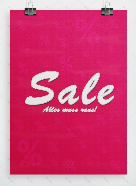 SALE - Alles muss raus! Werbeplakat, Leder-Look, Pink, DIN A1, P0042B