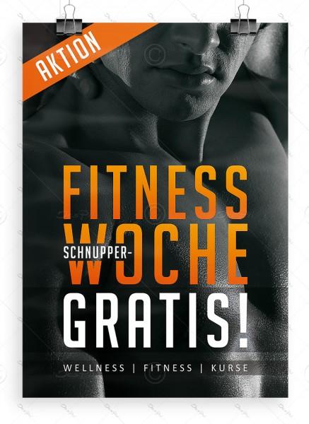 """Despri Werbeplakat """"Fitness Schnupperwoche Gratis"""" DIN A1, P0073"""