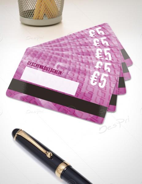 5 Euro Gutschein - Plastikkarten mit Magnetstreifen und Textfeld, PK0001, 50 Stück