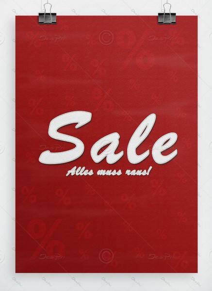 SALE - Alles muss raus! Werbeplakat, Leder-Look, Dunkelrot, P0042A