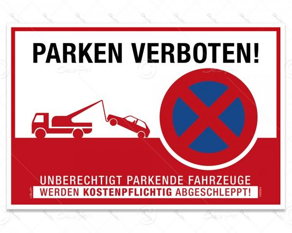 """Schild """"Parken verboten"""" Hinweisschild, S0004, Aluverbund, 3 mm, 30x20 cm, UV-Lack"""