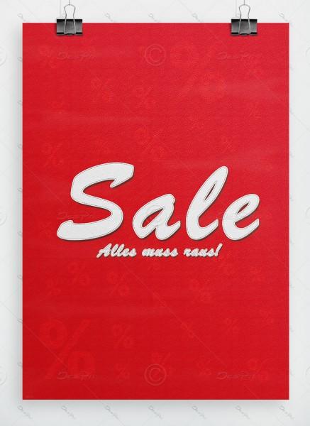 SALE - Alles muss raus! Werbeplakat, Leder-Look, Rot, P0042