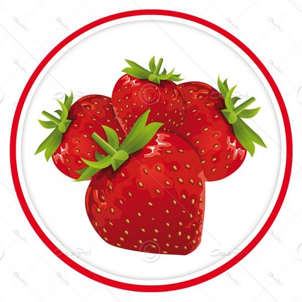 10x Erdbeeren, Schaufenster ablösbare Aufkleber, Rund, UV-Lack, A0003