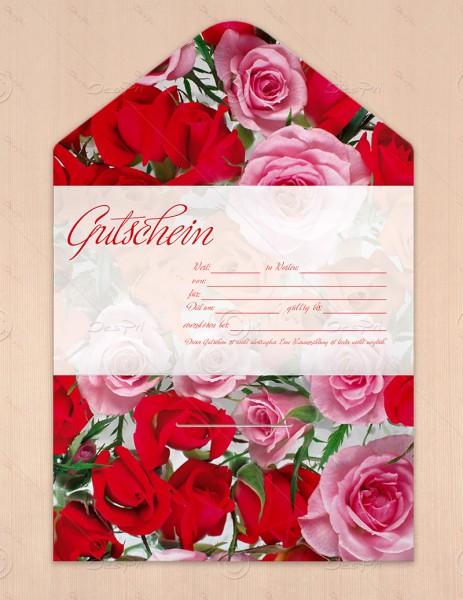 Gutscheinkarte klassisch, 50 Stück, Rosen, flower collection, 19x10 cm, G0009