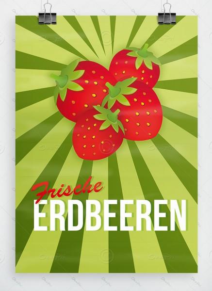 Frische Erdbeeren - Plakat - Poster, DIN A1, P0023