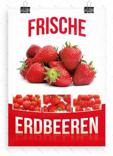 Frische Erdbeeren - Werbeplakat - Poster, DIN A1, P0026, Werbung für Direktvermarkter