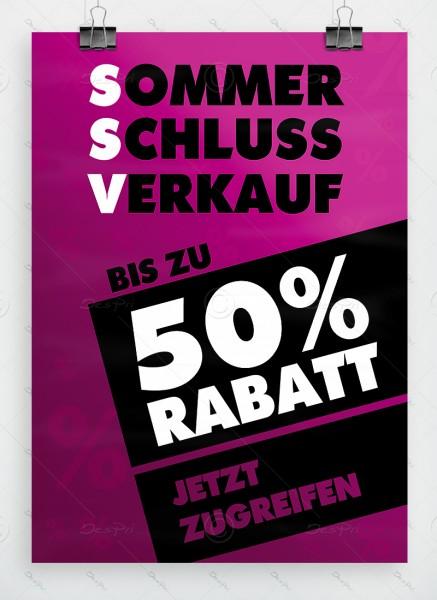 SSV - Sommerschlussverkauf - Plakat, violett, DIN A1, P0001C