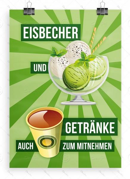 Eisbecher und Getränke auch zum mitnehmen - Werbeplakat - Poster, Limoneneis, DIN A1, P0029C