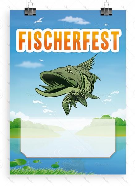 """Werbeplakat """"Fischerfest"""" mit Textfeld, Poster DIN A1, P0039"""