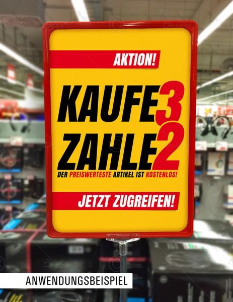 25x Werbeflyer - Kaufe 3 zahle 2, Verkaufsförderung, Werbeschild, Gelb, F0022