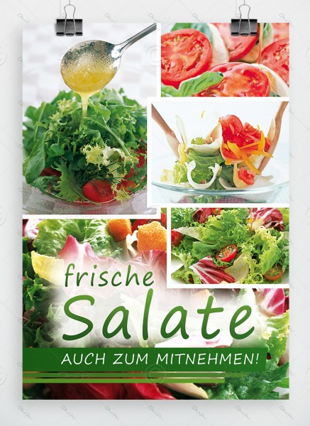 Frische Salate auch zum Mitnehmen, Werbeplakat by Despri, DIN A1, P0096