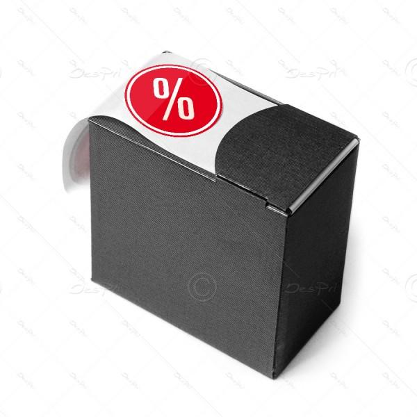 Etiketten auf Rolle - Prozent, rund, rot, E0001