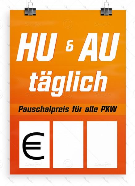HU & AU täglich - Autowerkstatt Werbeplakat by Despri, DIN A1, P0091