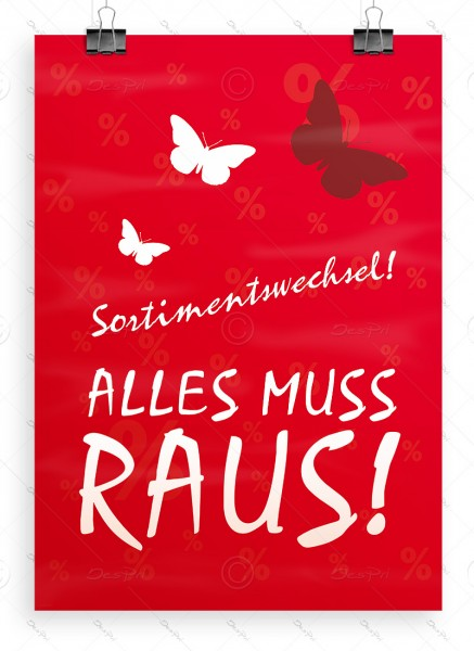 Sortimentswechsel! Alles muss raus! - Werbeplakat, Poster, Rot, A1, P0003B
