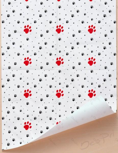 Geschenkpapier - Pfoten - Weiß, 68 cm x 98 cm, GP0002 ab 100 Stück