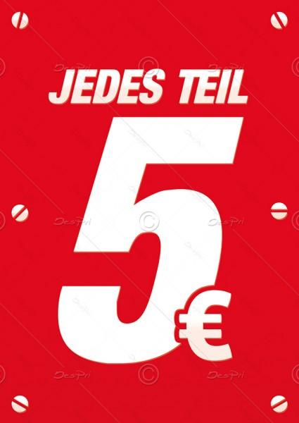 """25x Preisschild """"Jedes Teil 5€"""" Werbeschild, Werbeflyer, Rot, F0023"""