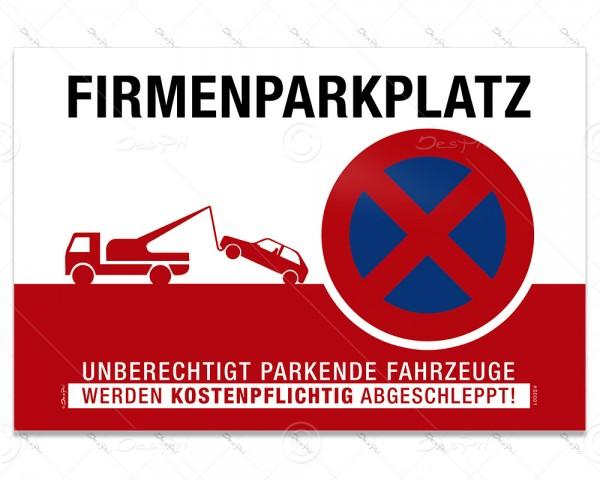 Hinweisschild - Firmenparkplatz, Parkverbotsschild, S0001A, Aluverbund, 3 mm, 30x20 cm, UV-Lack