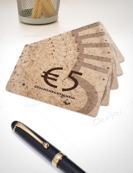 5 Euro Gutscheinkarte, Plastikkarte, Mino Paper look, PK0002, Sand, 50 Stück