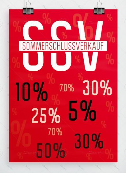 SSV Plakat - Sommerschlussverkauf, rot, DIN A1, P0050