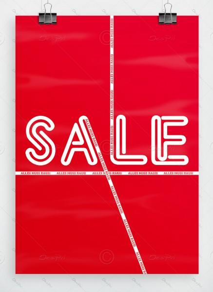 SALE - Alles muss raus! Werbeplakat by Despri, Rot, DIN A1, P0079