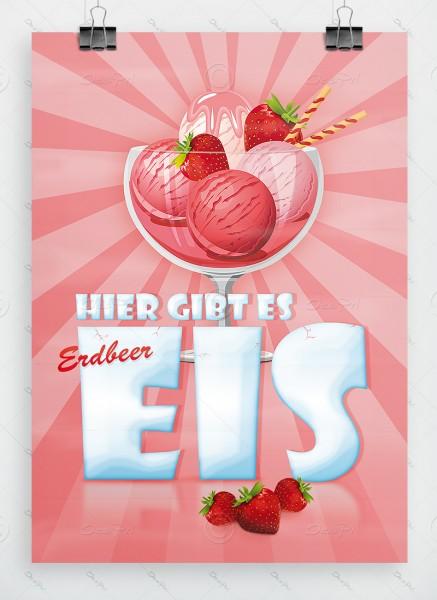 Hier gibt es Erdbeereis - Werbeplakat - Poster DIN A1, P0028 - Eiscafe Werbung