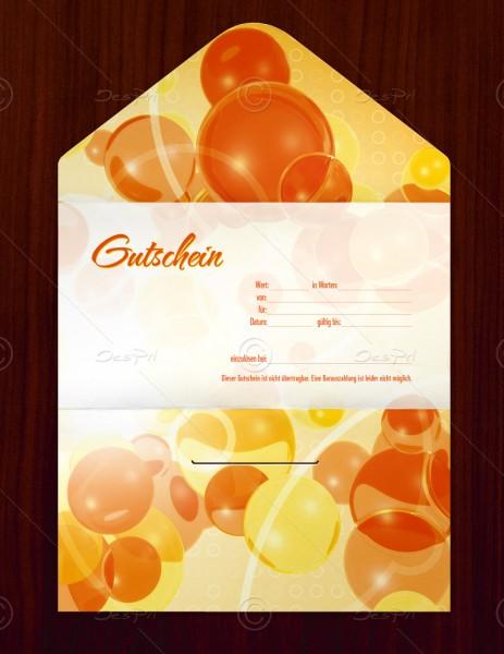 Gutscheinkarte klassisch, 50 Stück, pop art look, Orange, 19x10 cm, G0007