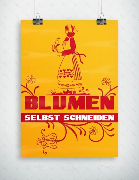 Blumen selbst schneiden - Werbeplakat by Despri, Gelb, DIN A1, P0086